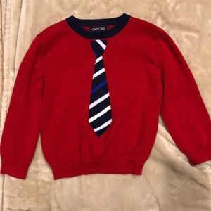 4t red sweater with tie
